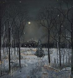 Available for sale from Rebecca Hossack Art Gallery, Emma Haworth, Midnight Woods Oil on linen, 160 × 150 cm Landscape Art, Landscape Paintings, Landscapes, Moonlight Painting, Snow Scenes, Female Art, Countryside, Illustration Art, Kunst