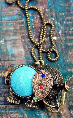 Bohemian Turquoise Rhinestone Elephant Necklace