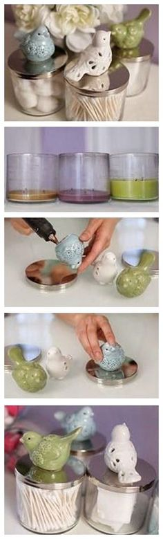 Ceramic bird topped jars (repurposed candle jars with lids)