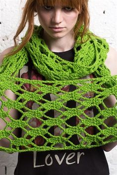 Openwork lace drapes beautifully in this crochet cowl. Riff Cowl