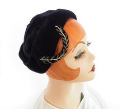 1940s tilt hat, navy blue velvet with beaded accent by TheVintageHatShop on Etsy