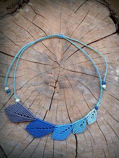 Macrame necklace, blue leaf necklace, summer