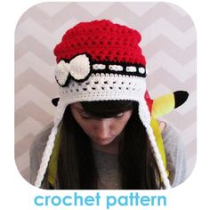 The Original pokemon pokeball inspired earflap slouchy beanie hat with... ($6.82) ❤ liked on Polyvore featuring accessories, hats, bow beanie, slouch hat, beanie cap, earflap hats and beanie hats