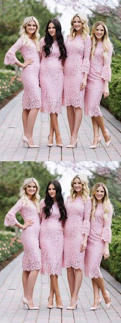 Fashion Sheath Jewel Long Sleeves Pink Lace Knee Length Bridesmaid Dress Pink Party Dress, Wedding Dresses, Bridesmaid Dress, Party Dress With Sleeves, Bridesmaid Dress Lace Bridesmaid Dresses 2018 Fitted Bridesmaid Dresses, Affordable Bridesmaid Dresses, Tulle Prom Dress, Short Bridesmaid Dresses, Mermaid Dresses, Flower Girl Dresses, Prom Dresses, Dress Lace, Lace Mermaid