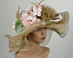 This item is unavailable Chapeaux Pour Kentucky Derby, Kentucky Derby Hats, Wedding Hats, Church Wedding, Fascinator, Headpiece, Tea Hats, Summer Hats For Women, Rose Headband