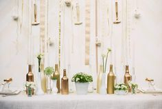 I just embarked on my first ever DIY project - gold spray painted bottles! Spray Painted Bottles, Diy Wedding, Wedding Blog, Wedding Ideas, Cream Wedding, Gold Bottles, Empty Bottles, Glass Bottles, Bottle Centerpieces