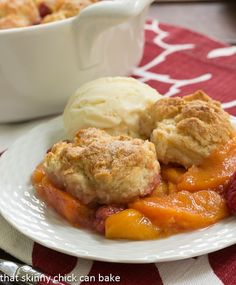 Peach Raspberry Cobbler from That Skinny Chick Can Bake