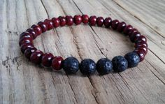 Dark rosewood bracelet with black lava beads rosewood lava