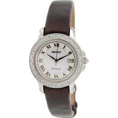 Seiko Women's SXDE57P2 Brown Leather Quartz Watch