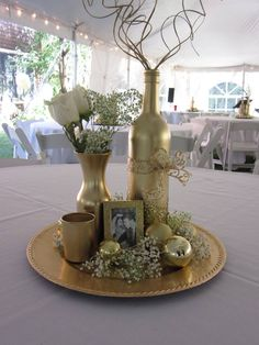 Wedding gift – centerpieces for gold wedding 50 years together – Anniversary 50th Wedding Anniversary Decorations, Golden Wedding Anniversary, Rustic Wedding Centerpieces, Anniversary Parties, Anniversary Ideas, Wedding Table, Wine Bottle Centerpieces, Anniversary Scrapbook, Anniversary Surprise