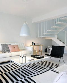 Scandi living room with white Caravaggio light from Light Years Scandi Living Room, Living Room Interior, Home Living Room, Living Room Designs, Living Room Decor, Living Spaces, Estilo Interior, Design Moderne, Scandinavian Home
