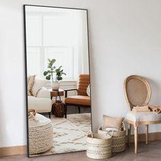 Full Length Mirror In Bedroom, Full Length Floor Mirror, Full Mirror, Big Mirror In Bedroom, Hallway Mirror, Full Length Mirror Black Frame, Living Room Mirrors, Living Room Decor, Bedroom Decor