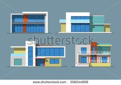 Set of various design color vector flat style modern private residential houses isolated on blue background. Detailed graphic symbols and elements collection