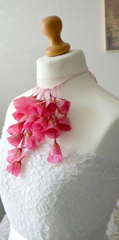 Paper flower necklace paper jewelry pink paper by Papersoulsongs