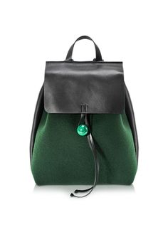 Corto+Moltedo+Rose+Green+Felt+and+Black+Leather+Backpack