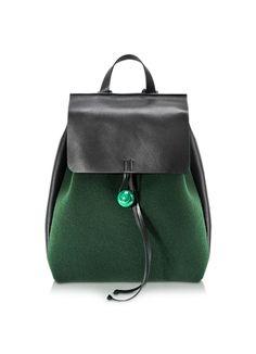 Corto+Moltedo+Rose+-+Рюкзак+из+Зеленого+Фетра+и+Черной+Кожи