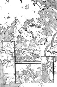 """pencil version of a page of the mini-serie """"world of warcraft-curse of the worgen"""" color version on the page of the great Tony Washington ! Comic Book Artists, Comic Books Art, Comic Art, Warcraft Comics, Jim Lee Art, Comic Frame, Joe Madureira, Comic Layout, Illustration Art"""