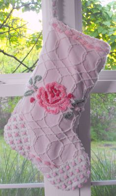 COMFY COTTAGE CHRISTMAS Stocking Rare Vintage Chenille Pink Cabbage Rose. $39.00, via Etsy.