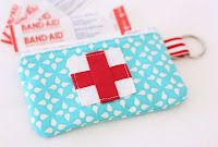 Make a little First Aid Pouch for on the go. Fits in your purse. Band aids, antibiotic ointment packets, alcohol wipes, etc.