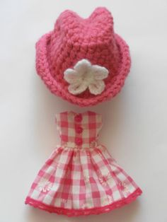 Blythe Pullip Doll Dress 'Pink Daisy Check' Cowgirl Hat Set Outfit Clothes | eBay