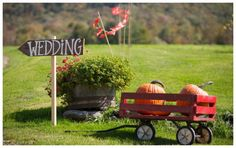 Fall touches and simple signs for a Vermont farm  wedding