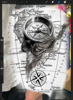 43 ideas for tattoo compass clock tattoo ideas – tattoo style - tattoo sleeve ideas Clock Tattoo Sleeve, Tattoo Sleeve Designs, Sleeve Tattoos, Tattoo Clock, Pirate Tattoo Sleeve, Nautical Tattoo Sleeve, Compass And Map Tattoo, Compass Tattoo Design, Nautical Compass Tattoo