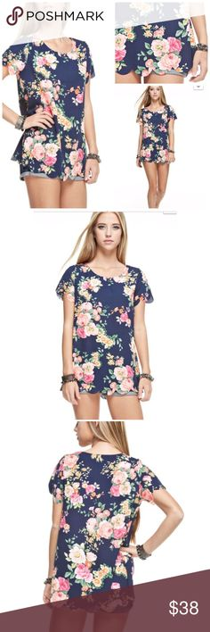 FLORAL PRINT LASER CUT TOP New floral print woven top. Laser cut hem. 100% polyester. Model size bust 32 inches. Height 5'8. Waist 25. Wears a size small. Made in USA 4 Bidden Boutique Tops Tees - Short Sleeve