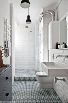 Henley tiles Like: decorative floor tiles, subway tiles & glass see through shower, square sink