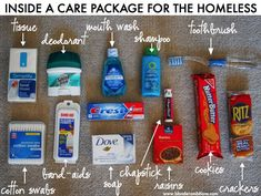   HOW TO MAKE CARE PACKAGES FOR THE HOMELESS {aka BLESSING BAGS}. Care packages. Blessing bags. Volunteer. Charity. Care for the homeless.
