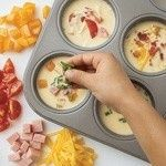 mini omelets – bake in muffin tin @350 for 20-25 min….a whole week of breakfast! Great idea!