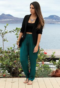 Green Baggy Pants with Black Blazer  Maybe if I work to make my pair of teal pants from India a little more fitted I could pull this off with a longer top.