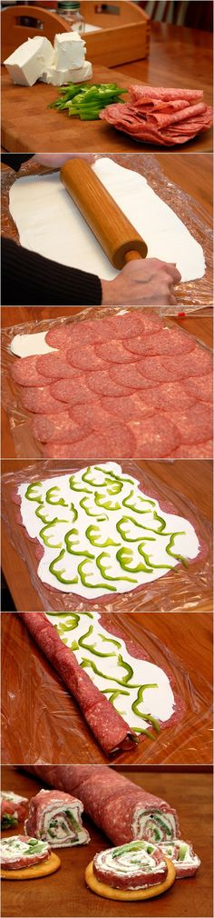 Salami and Cream Cheese Roll-Ups: This can be done with so many other meats and combos.