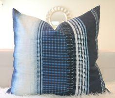Made-to-order Mulberry Striped Indigo pillow cover, linen indigo, Shibori linen, indigo throw pillow, Shibori pillow, boho style decor