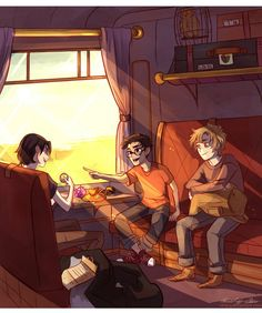 James Potter, Sirius Black, Remus Lupin y Peter Pettigrew. Lyly Evans, Severus Snape