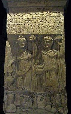 """Celtic:  A relief of the Celtic God Sucellus (""""Good Striker"""") and his wife, Nantosuelta (""""Sun-Warmed Valley""""), from Sarrebourg, France."""