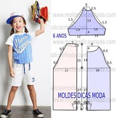 MOLDE CAMISOLA DE CRIANÇA -4 - Moldes Moda por Medida