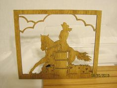 THIS BARREL RACER, FEMALE ON HORSE, SCROLL SAW PLAQUE IS APPROX 12 1/2 W X 10 1/2 H X 1/4 THICK AND HAND MADE BY MIKE. Each piece is sanded and stained but not sealed so it can be stained a darker color or painted any color. My husband, Mike, has a large and varied inventory of