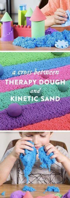 Is it therapy dough or moldable kinetic sand? Mad Mattr is both. Sculpt, stretch… Is it therapy dough or moldable kinetic sand? Mad Mattr is both. Sculpt, stretch—even crumble—it and watch the texture change from sandy to silky soft in seconds. Projects For Kids, Diy For Kids, Craft Projects, Crafts For Kids, Sensory Activities, Sensory Play, Preschool Activities, Diy Sensory Toys, Sensory Table