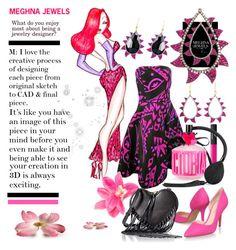"""MEGHNA JEWELS 02"" by irinavsl ❤ liked on Polyvore featuring Oscar de la Renta, NARS Cosmetics, Victoria's Secret, Nine West and Rebecca Minkoff"