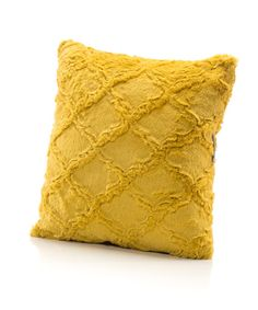 Mustard Embossed Lattice Minky Throw Pillow in 18x18, also available in 16x16. Designer Fabric. USA Made by Elonka Nichole