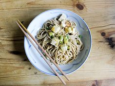 "Chilled soba noodles with spicy orange sesame and tofu, from Susan Feniger's upcoming ""Street Food"" cookbook. Pasta Recipes, Cooking Recipes, Asian Street Food, Soba Noodles, New Cookbooks, Food Festival, Tofu, Entrees, Main Dishes"