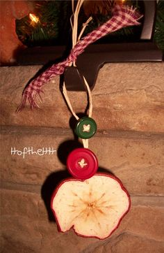 DIY Dry apples and make ornaments or hang on tree. Jesse Tree Ornaments, Christmas Ornaments To Make, Christmas Love, Rustic Christmas, Christmas Holidays, Natural Christmas, Christmas Kitchen, Christmas Ideas, Xmas