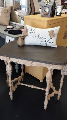 1930's Mahogany Side table finished in Shabby Paints Buffalo Brown with Clear VAX and Vanilla Bear with Hazelnut ReVAX!