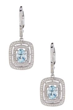 Aquamarine & White Diamond Dangle Earrings by Savvy Cie on @HauteLook