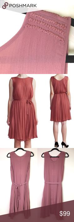 """Birger Et Mikkelsen Day Hours Chiffon Belted Pleat Day Hours Sleeveless Pleated Dress, Light Rose Pink by Danish high end designer Birger et Mikkelsen  MSRP: $320 Sold Out!  Size Us 8 Eu 38  Sleeveless pleated dress in a muted solid color Embroidered ribbon detailing at front shoulders Round neck Sleeveless Ties at waist Pleated hem Fitted  MEASURES (approx laying flat) Length: 40"""" (shoulder to hem) Chest: 18.5"""" Waist: 20.5"""" Hips: 22""""  Offers warmly accepted - will counter lowest We ship…"""