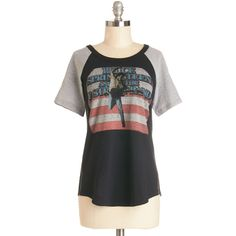 ModCloth Music Mid-length Short Sleeves Worldb ($50) ❤ liked on Polyvore featuring tops, t-shirts, 1980s t shirts, short sleeve tee, guitar tees, 80s tees and graphic print t shirts