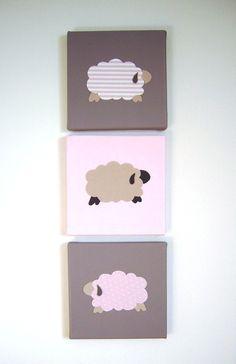 Décoration murale chambre d'enfant - Tableau triptyque bébé, trois moutons blanc, beige, rose, cadeau de naissance : Décoration pour enfants par fees-et-rires