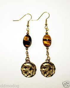 Genuine Tigers Eye and Roman Warrior Gold Coin Dangle Earrings  $13.99