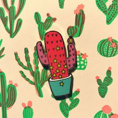 Pink cactus pin Available in our e-shop FedoraMi.com