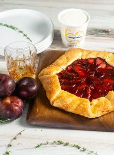 Bourbon Thyme Plum Galette | DIVERSE DINNERS Yummy Treats, Sweet Treats, Tart Filling, Tart Pan, Stone Fruit, Bourbon, Food Print, Cooking Tips, A Food